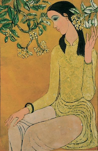 Nguyen Trung b. 1940 , Lady With Champa Flowers   lacquer on panel