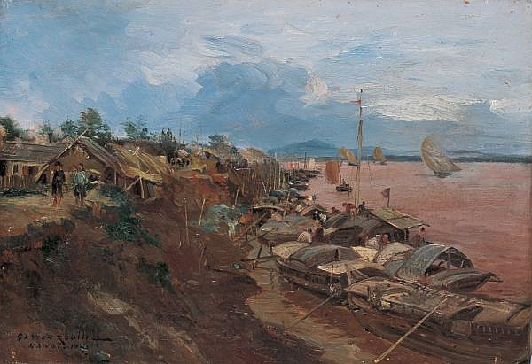 Gaston Roullet 1847-1925 , Landscape Of Hanoi oil on canvas