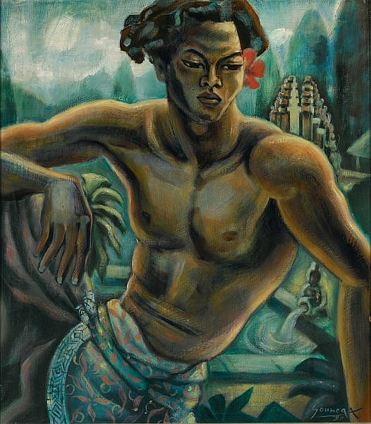 Auke Cornelis Sonnega 1910-1963 , Dancer In A Balinese Landscape oil on canvas
