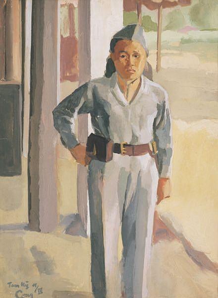 Nguyen Do Cung 1912-1977 , Le Combattante (The Combatant) watercolour on paper