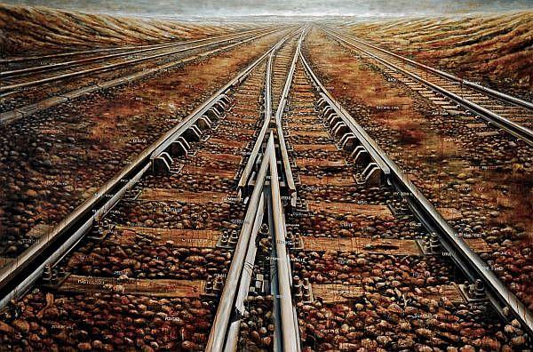 M Irfan b. 1972 , One Way Ticket mixed media on canvas