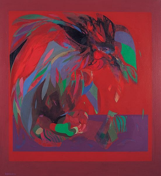 Ibrahim Hussein b. 1936 , Fighting Cockerel oil on canvas