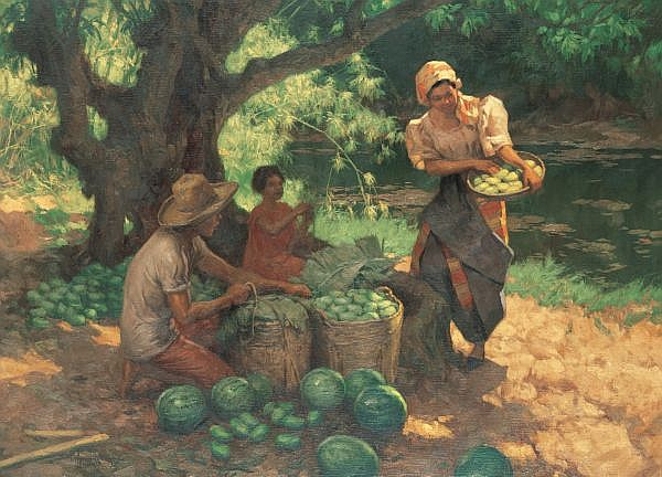 Fernando Cueto Amorsolo 1892-1972 , Harvesting oil on canvas