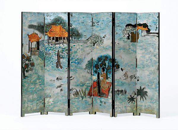 Tran Van Ha b. 1911 , Inside The Tu Duc Emperor Tomb, Hué lacquer on panel