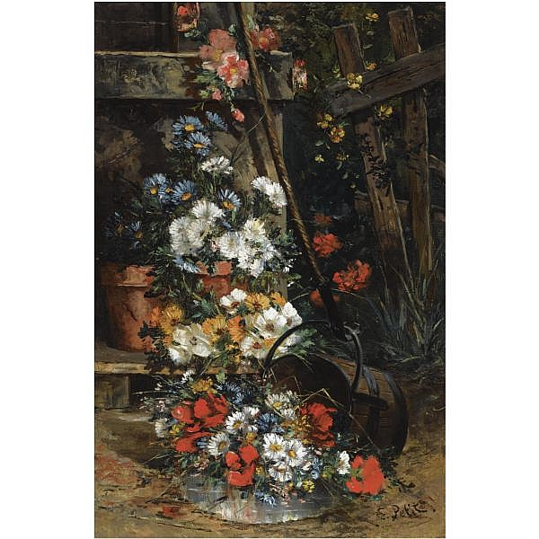 Eugène Petit , French 1839-1886 the garden gate oil on canvas