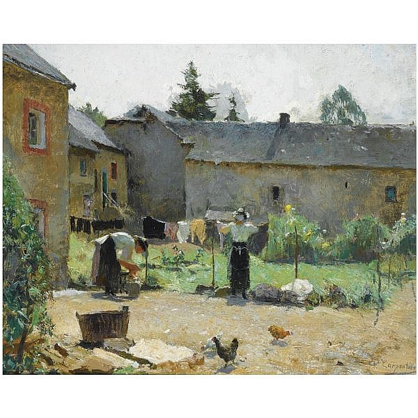 Evariste Carpentier , Belgian 1845-1922 women hanging the laundry out to dry in a courtyard oil on canvas