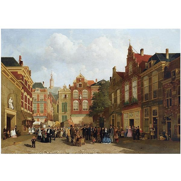 Joseph Bles , Dutch 1825-1875   the daily market on the Groenmarkt with the St. Jacobskerk in the back, The Hague oil on panel