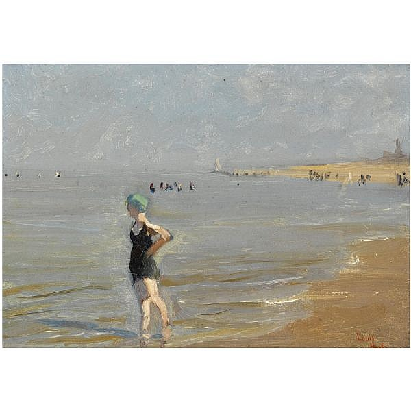 Louis Hartz , Dutch 1869-1935 a bather in the surf oil on board