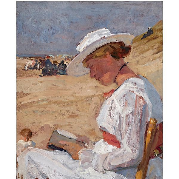 Louis Hartz , Dutch 1869-1935 an interesting read on the beach oil on canvas