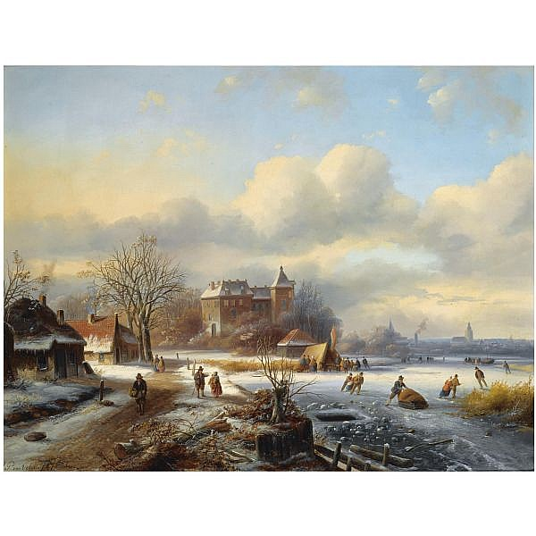 Johannes Petrus van Velzen , Dutch 1816-1853 a winter landscape with skaters on the ice, a town in the distance oil on panel