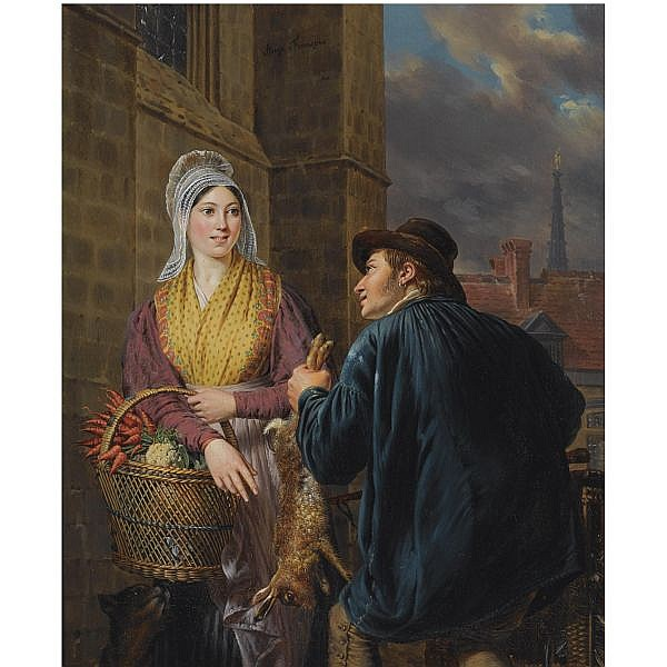 Ange François , Belgian 1800-1867   on the way to the market oil on panel