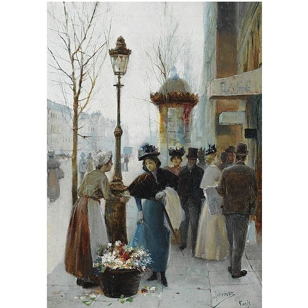 José Maria Jardines , Spanish b. 1862 a parisian flower seller oil on canvas