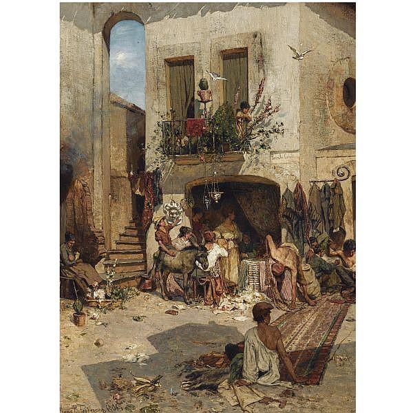 - Hans Peter Feddersen , German 1848-1941 a busy italian marketplace (piazza tre carreli) oil on panel