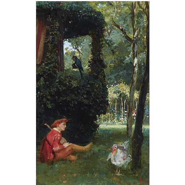 August Allebé , Dutch 1838-1927 a jester playing the lute in a garden oil on canvas
