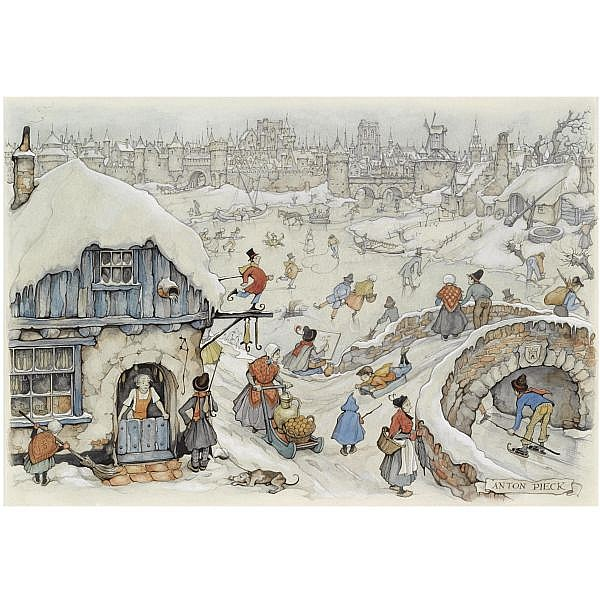 Anton Pieck , Dutch 1895-1987 winter fun on the ice watercolour