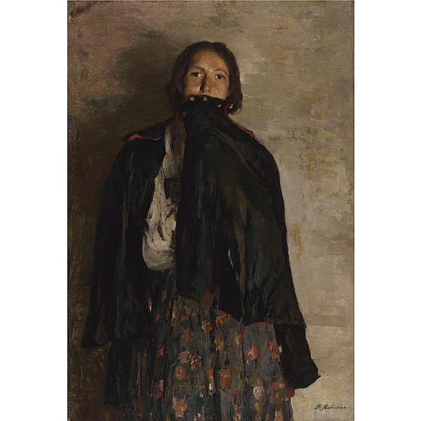 Philip Andreevich Maliavin , Russian 1869-1940 Peasant, Covering her Mouth with a Shawl Oil on canvas