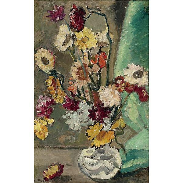 Louis Valtat , 1869-1952 Immortelles au petit vase de crystal Oil on canvas