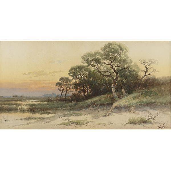 Carl Weber 1850 - 1921 , Evening, Bristol Point, Pennsylvania Watercolor on paper