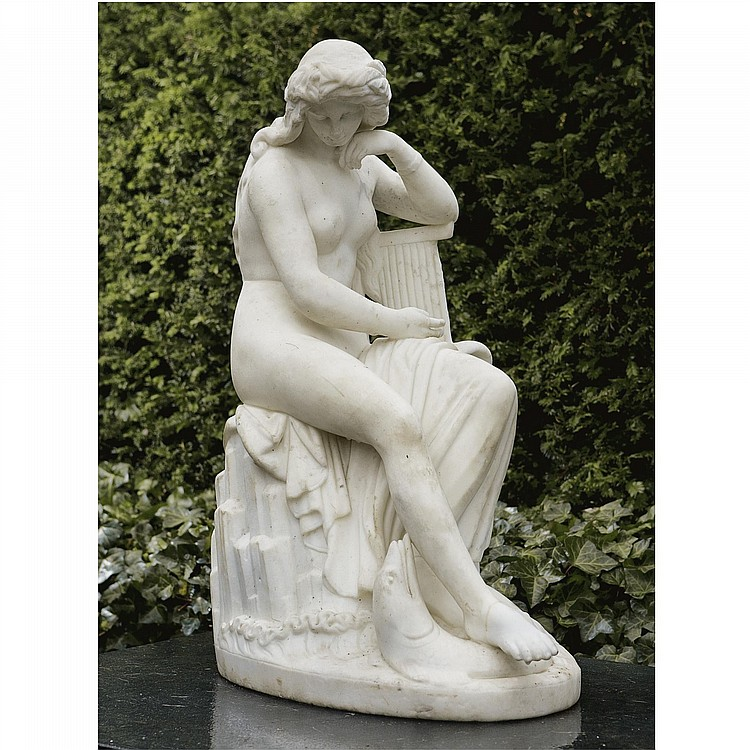 A WHITE MARBLE FIGURE OF THE SOURCE NYMPH OF THE RHEIN, AFTER LUDWIG VON SCHWANTHALER (1802-1848)