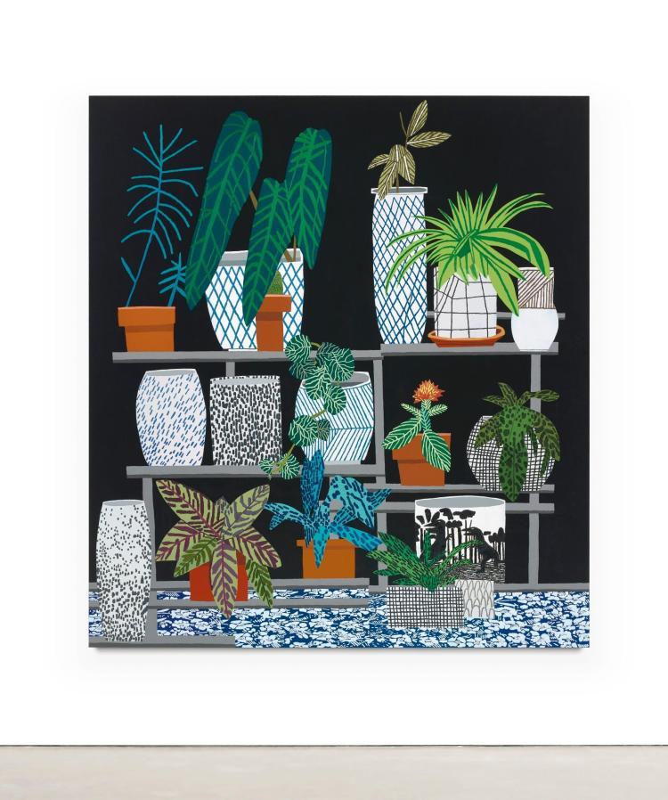 JONAS WOOD | Black Still Life with Flower Pattern