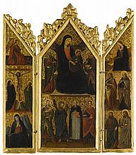CENTRAL ITALIAN SCHOOL, CIRCA 1400   A triptych: central panel: Madonna and Child and saints; wings: Annunciation, Crucifixion and saints