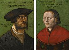 GERMAN SCHOOL, FIRST HALF OF THE 16TH CENTURY   Portrait of a bearded gentleman, bust length, wearing a slashed coat and hat; Portrait of a lady, bust length, wearing a red dress
