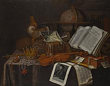 EDWAERT COLLIER   A still life with a crown and sceptre, a violin, a jewel casket, a nautilus cup, and a print of Erasmus