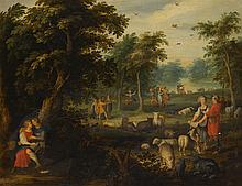 JASPAR VAN DER LAANEN   An Arcadian landscape with courting shepherds andtheir flock