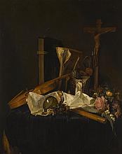 JACQUES DE CLAEUW   A vanitasstill life of a violin, books, an inkwell, manuscripts, a roemer, a flute, a crucifix and a wreath of flowers on a cloth covered table