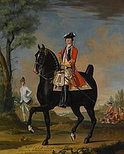 DAVID MORIER   A portrait of William Kerr, 4th Marquess of Lothian on a charger, his Aide-de-camp to the left, and a military encampment beyond