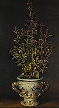 BENJAMIN FERRERS   A plant, probably a Gomphrena, in a nevers-style faience jardiniere
