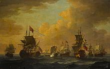 JOHN CLEVELEY THE ELDER   Shipping off a coast, with one flying the royal standard, another with a vice admiral of the red, another with a rear admiral of the blue
