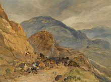 SIR EDWIN HENRY LANDSEER, R.A.   A highland landscape with a stone breaker in the foreground, possibly at the Pass of Glen Coe
