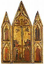 UMBRIAN SCHOOL, 14TH CENTURY   A triptych: The Crucifixion (central panel); Saint James the Greater, Saint Sebastian (?) (left wing);a Bishop Saint (San Savino?), a Deacon Saint, perhaps Saint Laurence (right wing)