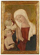 WORKSHOP OF BENVENUTO DI GIOVANNI   Madonna and Child with Saint Joseph