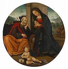 CIRCLE OF RIDOLFO DEL GHIRLANDAIO   Adoration of the Christ Child with St Joseph