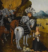 CIRCLE OF LUCAS CRANACH THE ELDER   Allegorical portrait of a knight, possibly The Emperor Maximilian I, asSaint George