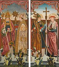 CIRCLE OF BARTHOLOMÄUS BRUYN THE YOUNGER   The Four Church Fathers: Saints Gregory and Jerome; Saints Augustine andAmbrose