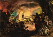 GILLIS MOSTAERT   Lot and his daughters guided by angels, theDestruction of Sodomand Gomorrah beyond