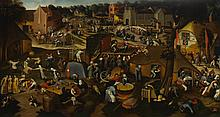 CIRCLE OF PIETER BRUEGHEL THE YOUNGER   A village <em>kermesse</em> with a performance of the farce<em>Een cluyte van Plaeyerwater</em> ('A clod from a plaeyerwater'), and a religious procession