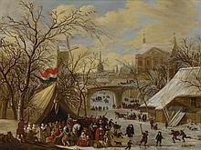 GERRIT BATTEM | Winter townscape with a military encampment and figures skating on the frozen river