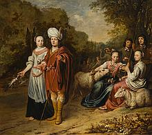 GERBRAND VAN DEN EECKHOUT   A family portrait, with mother and father in the guise of Jacob and Rachel