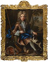 JOHN CLOSTERMAN   Portrait of a boy seated in a landscape, with a spaniel and aflintlock