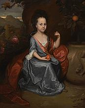 GODFRIED SCHALCKEN   Portrait of a girl, believed to be Miss Anne Conslade, wearing a blue dress with a brown mantle, holding an orange
