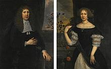 JAN DE BAEN   Portrait of a gentleman, three-quarter length, wearing black with a lace collar, a landscape beyond a draped curtain;<br />Portrait of a lady, three-quarter-length, wearing a black dress with lace, and pearl earrings and necklace, a