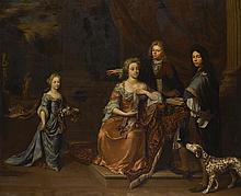 JAN VERKOLJE THE ELDER   Portrait of a family in a park landscape, attended by their Dalmatian
