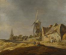 JAN JOSEFSZ VAN GOYEN   Landscape with a mill and figures seated on the bank of a sandy path