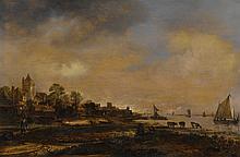 AERT VAN DER NEER   Wide river landscape with a castle and a village, at sunset