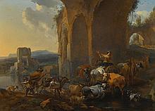 NICOLAES PIETERSZ. BERCHEM   Landscape with herdsmen beneath ruins