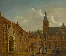 ISAAK OUWATER | A townscape with figures outside a civic guard house